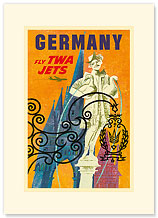 Trans World Airlines: Germany - Fly TWA Jets, Castle and Goose Man Fountain, Nuremberg - Premium Vintage Collectible Blank Greeting Card