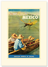 Direccion General de Turismo: Lake Chapala, Mexico, Men in Canoes - Premium Vintage Collectible Blank Greeting Card