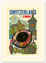 Trans World Airlines: Switzerland - Fly TWA, Traditional Hat, Clock Tower - Premium Vintage Collectible Blank Greeting Card