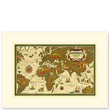 Aviation World Map - Premium Vintage Collectible Blank Greeting Card