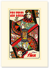 Trans World Airlines: Las Vegas - Fly TWA - Premium Vintage Collectible Blank Greeting Card