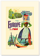 Trans World Airlines: Europe - Fly TWA, Girl in Traditional Costume and Historic Monuments - Premium Vintage Collectible Blank Greeting Card