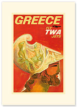 Trans World Airlines: Greece - Fly TWA Jets, Ancient Greek Helmet - Premium Vintage Collectible Blank Greeting Card