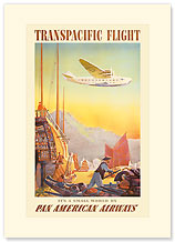 Transpacific Flight By Clipper - Premium Vintage Collectible Blank Greeting Card