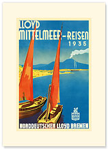 Lloyd Mittelmeer-Reisen - Premium Vintage Collectible Blank Greeting Card