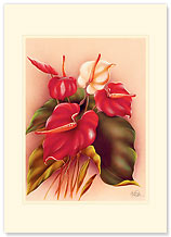 Red & White Anthuriums - Personalized Vintage Collectible Greeting Card