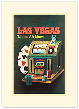 United Air Lines Las Vegas - Slot Machine & Poker Cards - Premium Vintage Collectible Blank Greeting Card