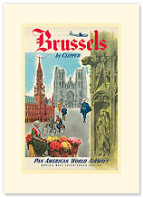 Pan Am Brussels by Clipper - Premium Vintage Collectible Blank Greeting Card