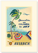 Jamaica & Columbia via Jet Travel Avianca - Premium Vintage Collectible Blank Greeting Card