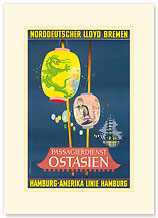 Hamburg America Line, Ostasien - Premium Vintage Collectible Blank Greeting Card