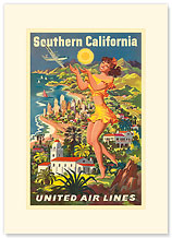 Southern California, United Airlines - Premium Vintage Collectible Blank Greeting Card