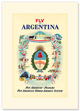 Panagra Fly to Argentina - Premium Vintage Collectible Blank Greeting Card