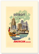 American Airlines Detroit - Premium Vintage Collectible Blank Greeting Card