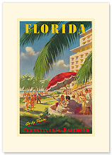Pennsylvania Railroad, Florida - Premium Vintage Collectible Blank Greeting Card