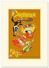 BWIA Caribbean, Limbo - British West Indian Airways - Premium Vintage Collectible Blank Greeting Card