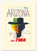 Trans World Airlines, Arizona Fly TWA - Premium Vintage Collectible Blank Greeting Card