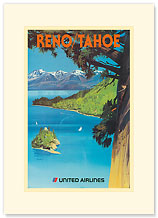 United Airlines Reno/Tahoe - Lake and Mountains - Premium Vintage Collectible Blank Greeting Card