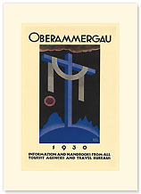 Oberammergau - Blue Cross - Premium Vintage Collectible Blank Greeting Card