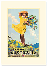 Western Australia, Flower Girl - Premium Vintage Collectible Blank Greeting Card