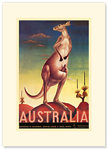 Australia, Airline & Travel Kangaroo - Premium Vintage Collectible Blank Greeting Card