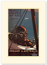 Air Race, England to Australia - Premium Vintage Collectible Blank Greeting Card