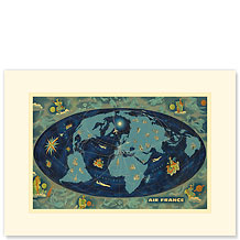 Aviation World Map Planisphere - Premium Vintage Collectible Blank Greeting Card
