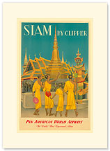 Pan American, Siam Buddhist Monks - Premium Vintage Collectible Blank Greeting Card