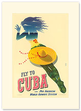 Pan Am Fly to Cuba - Holiday Isles of the Tropic - Premium Vintage Collectible Blank Greeting Card