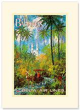 Delta Bahamas - Palms and a Horse Drawn Carriage - Premium Vintage Collectible Blank Greeting Card