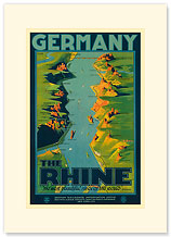 The Rhine, Germany - German Railroads Poster - Premium Vintage Collectible Blank Greeting Card