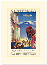 Guatemala via Pan Am - Is Only One Day Away - Premium Vintage Collectible Blank Greeting Card