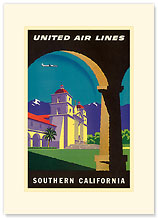 United Airlines - Southern California Mission - Premium Vintage Collectible Blank Greeting Card