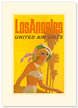 Los Angeles United Airlines - Premium Vintage Collectible Blank Greeting Card