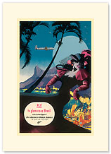 Pan Am, Fly to Glamorous Brazil - Premium Vintage Collectible Blank Greeting Card