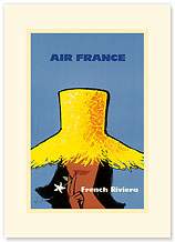 Aviation French Riviera- Yellow Hat - Premium Vintage Collectible Blank Greeting Card