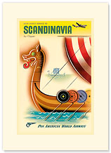 Pan Am Scandinavia Viking Ship - Premium Vintage Collectible Blank Greeting Card