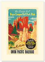 Bryce Canyon, Utah - Union Pacific Railroad - Premium Vintage Collectible Blank Greeting Card