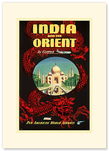 Pan American India and the Orient - Taj Mahal - Premium Vintage Collectible Blank Greeting Card