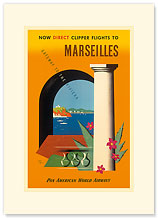 Pan American Marseilles - Gateway to the Riviera - Premium Vintage Collectible Blank Greeting Card