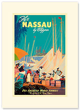 Pan American Nassau Bahamas by Clipper - Premium Vintage Collectible Blank Greeting Card