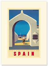 Spain - Fisherman and his Boat - Premium Vintage Collectible Blank Greeting Card