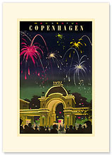 Wonderful Copenhagen - Fireworks at Tivoli Gardens - Premium Vintage Collectible Blank Greeting Card