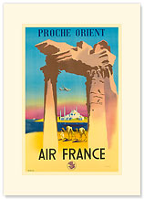 Aviation Proche Orient - Near East Camels - Premium Vintage Collectible Blank Greeting Card
