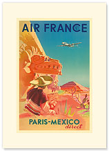 Aviation Paris-Mexico Direct - Aztec Pyramid of the Sun - Premium Vintage Collectible Blank Greeting Card