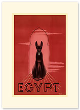 Egypt Black Cat - Premium Vintage Collectible Blank Greeting Card