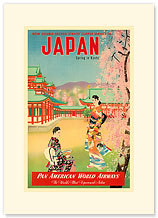 Pan Am Japan, Spring in Kyoto - Geishas - Premium Vintage Collectible Blank Greeting Card