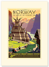 Norway Pan Am, Land of the Midnight Sun - Premium Vintage Collectible Blank Greeting Card