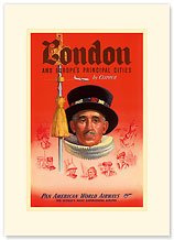 London by Clipper - Beefeater Yeomen of the Guard - Premium Vintage Collectible Blank Greeting Card