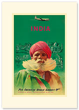 India Pan Am - Premium Vintage Collectible Blank Greeting Card