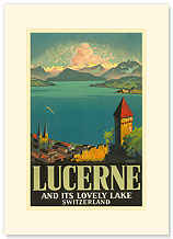 Lucerne Lovely Lake - Switzerland - Premium Vintage Collectible Blank Greeting Card